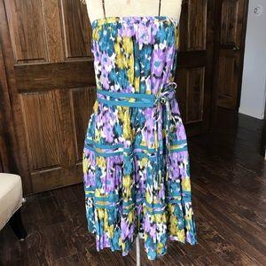 ELLE Strapless Purple & Green Floral Motif Dress M